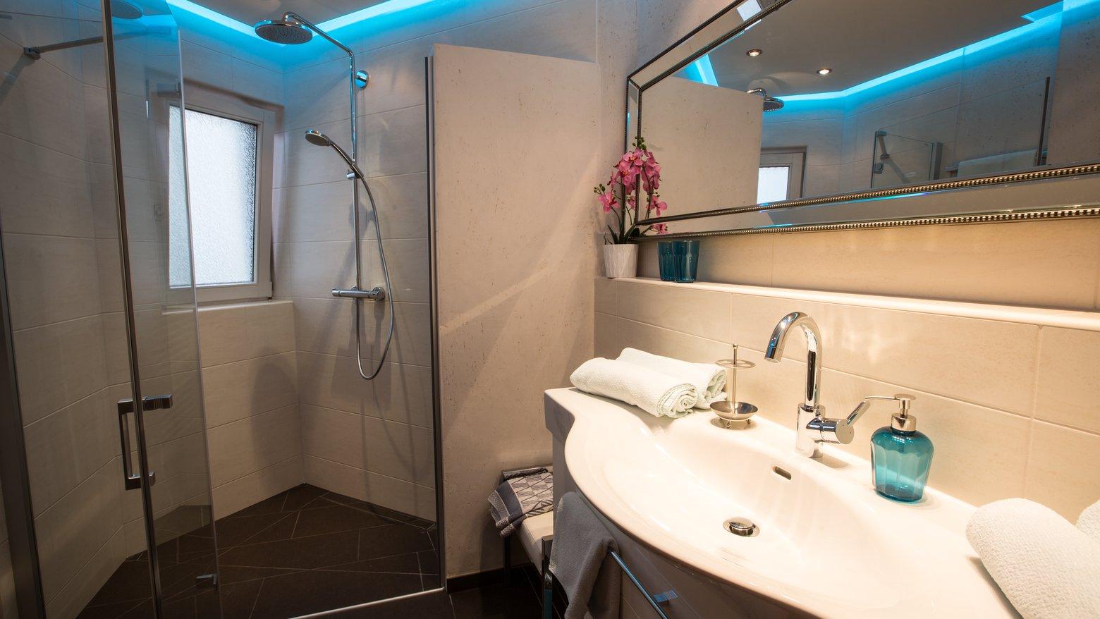 Badezimmer mit Panoramadusche